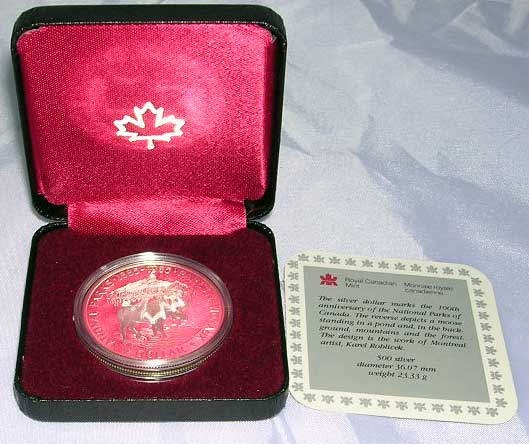 1985 Canada Moose National Parks Silver Coin