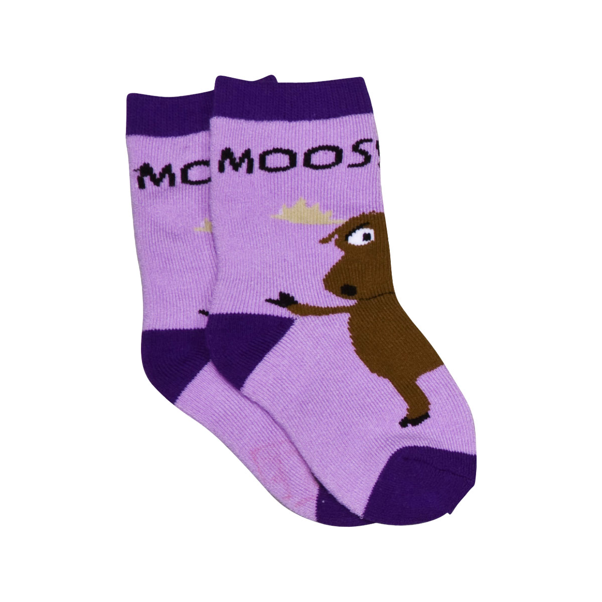 Moose Hug Purple Infant Socks 6-12