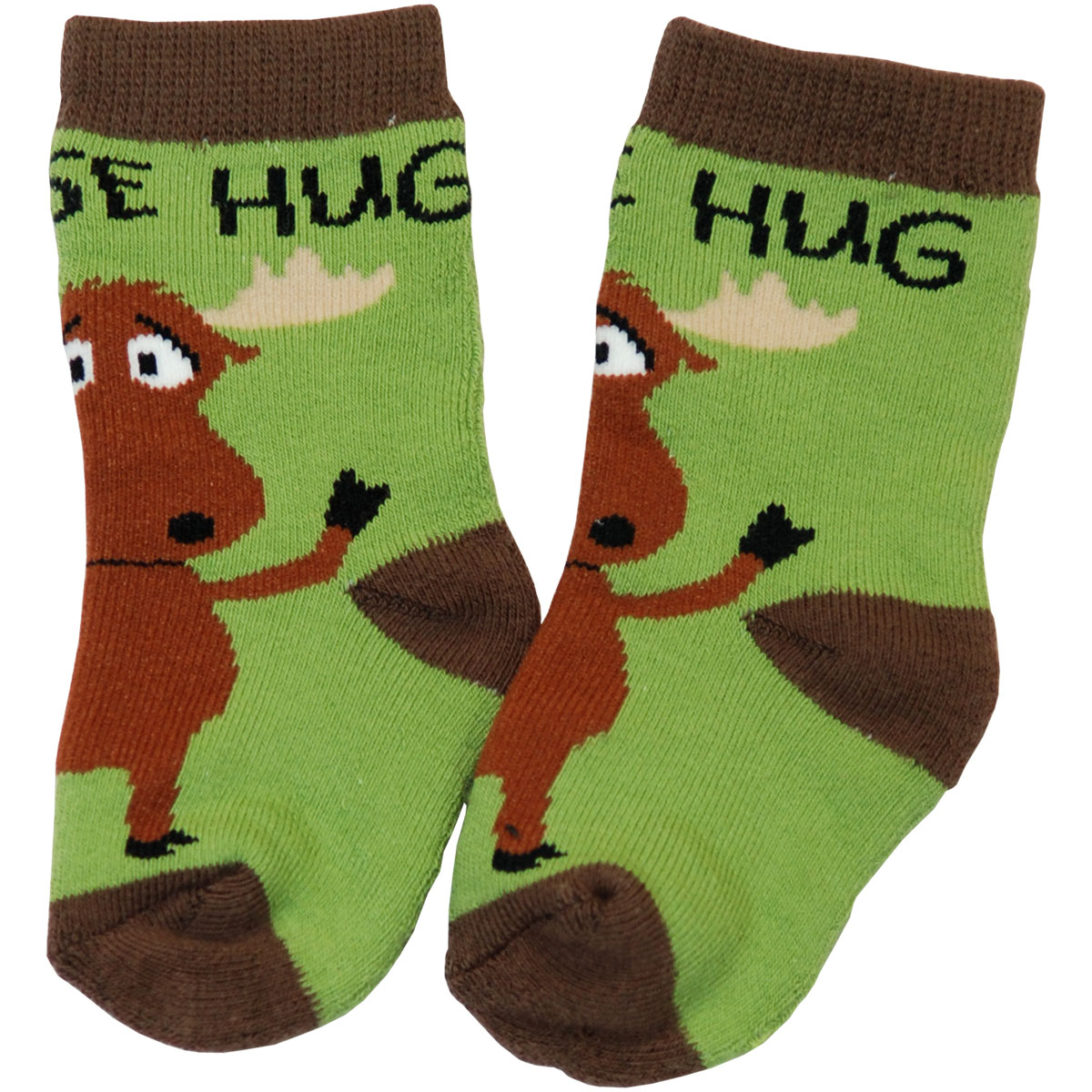 Moose Hug Green Infant Socks 6-12