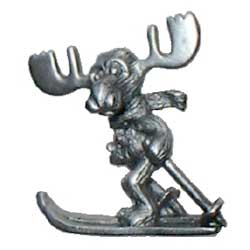 Markie Moose - Alpine Skiing Moose Pin in Pewter
