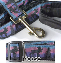"3/4"" wide 5th Avenue Dog Lead with Moose Pattern"